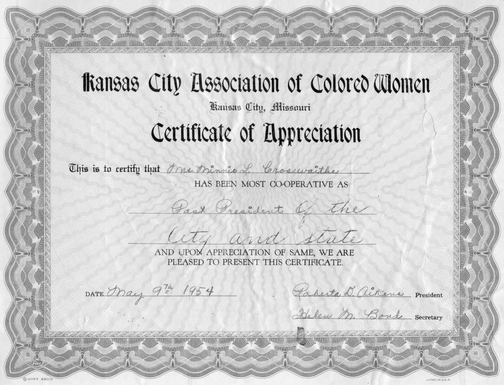 Certificate of Appreciation  given to Minnie Crosswaithe from the Kansas City Association of Colored Women