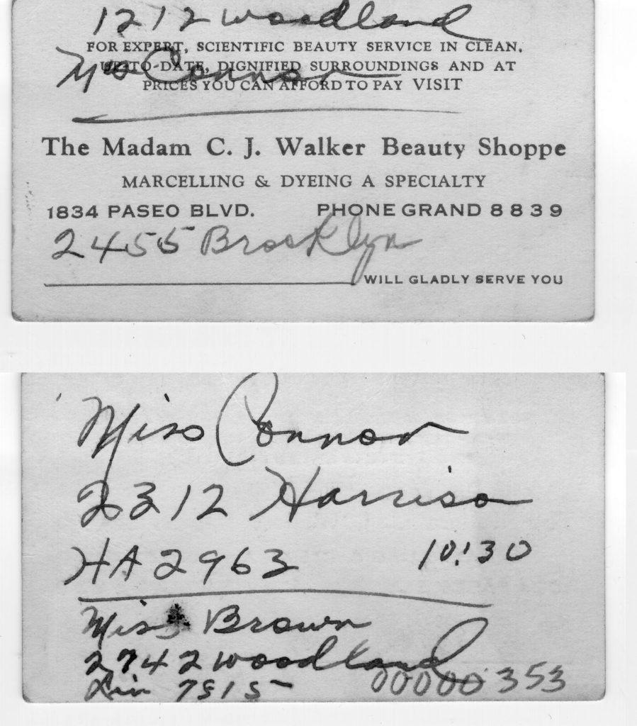Business card from Madam C.J. Walker Beauty Shoppe
