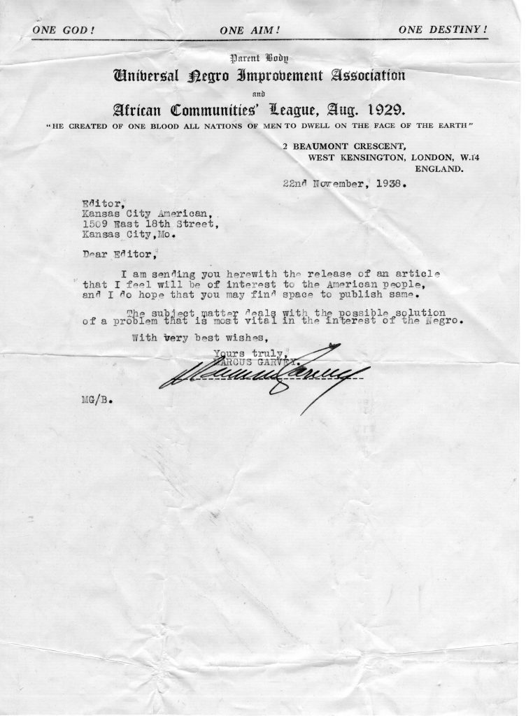 Letter from Marcus Garvey to Kansas City American Editor