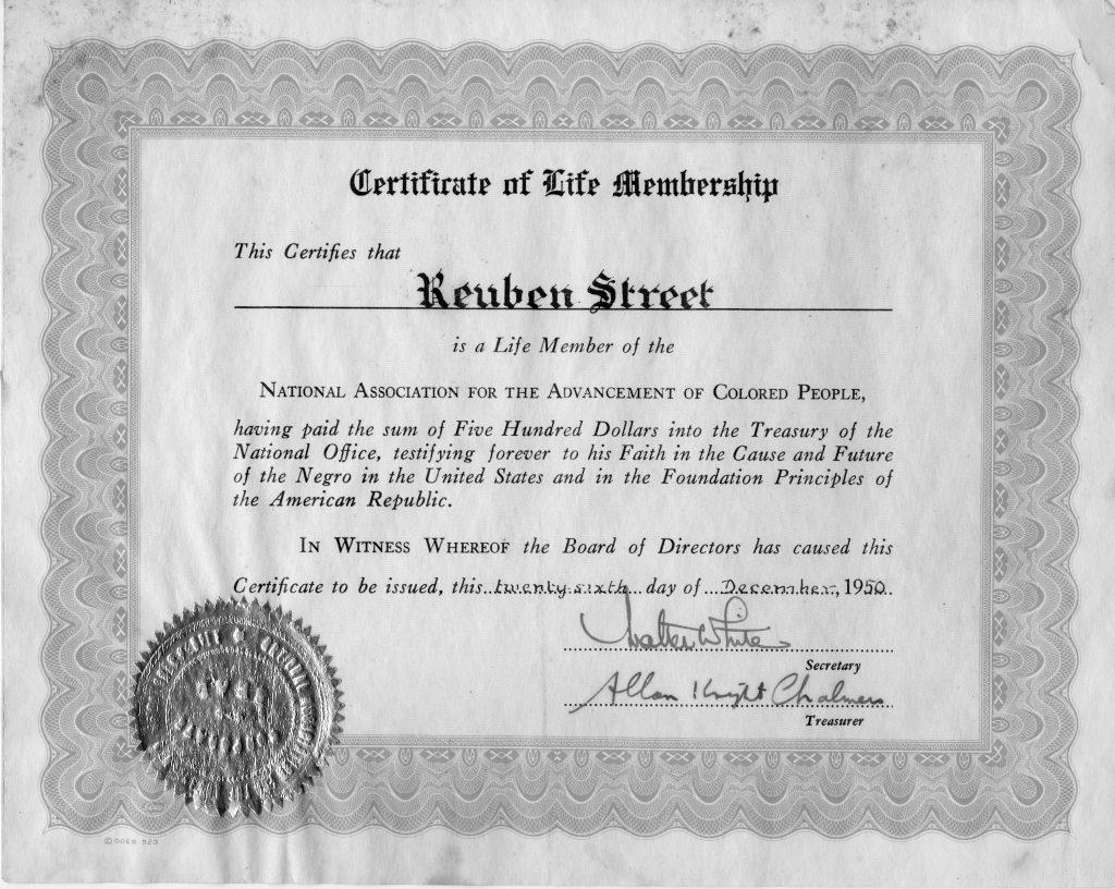 Certificate of NAACP life membership to Reuben Street