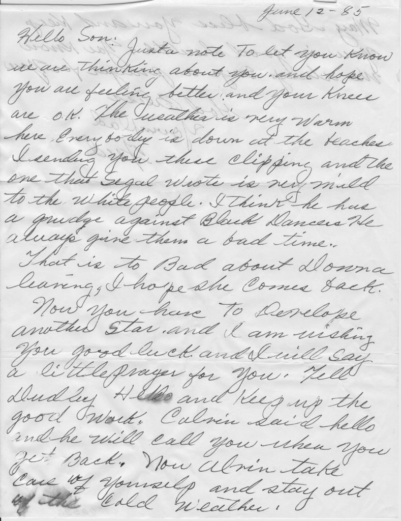 Letter from Fred Cooper to stepson Alvin Ailey (Page 1 of 2)