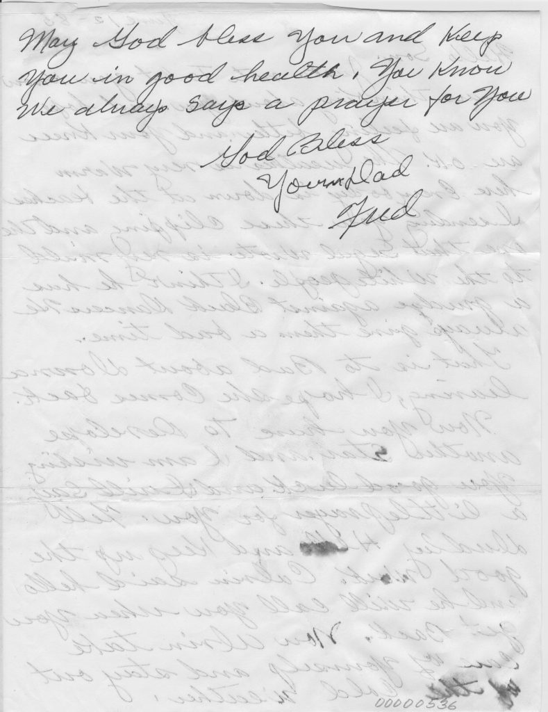 Letter from Fred Cooper to stepson Alvin Ailey (Page 2 of 2)