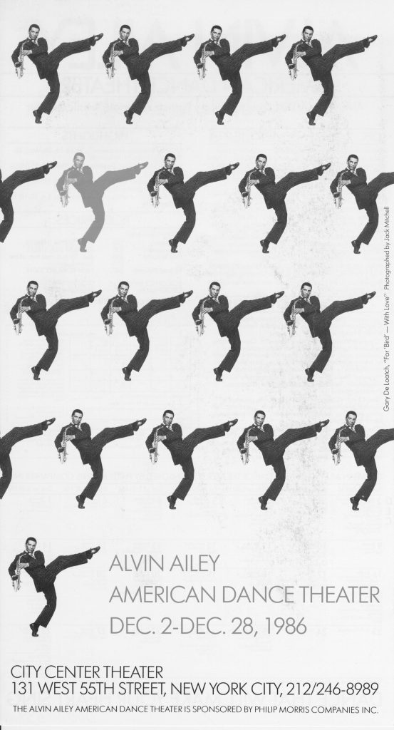 """Poster for Alvin Ailey American Dance Theater production of """"To Bird With Love"""""""