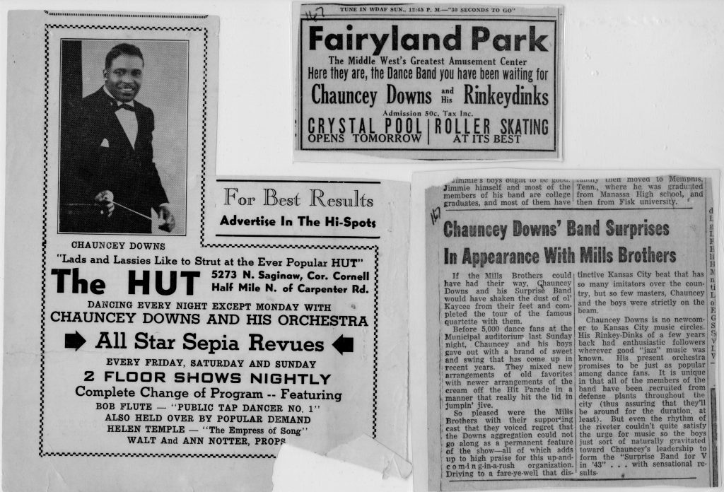 Three newspaper clippings about Chauncey Downs