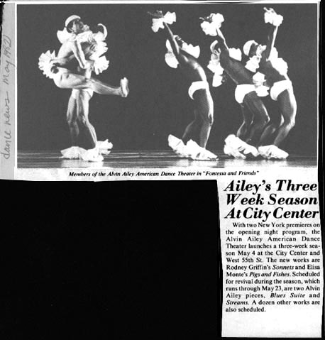 """Article announcing Alvin Ailey Dance Company's """"Fontessa and Friends"""""""