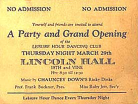 Invitation to party at, and grand opening of Lincoln Hall