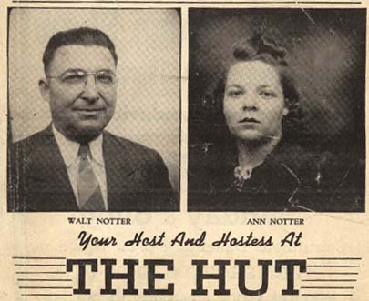 Newspaper article advertising the host and hostess of The Hut Jazz Club