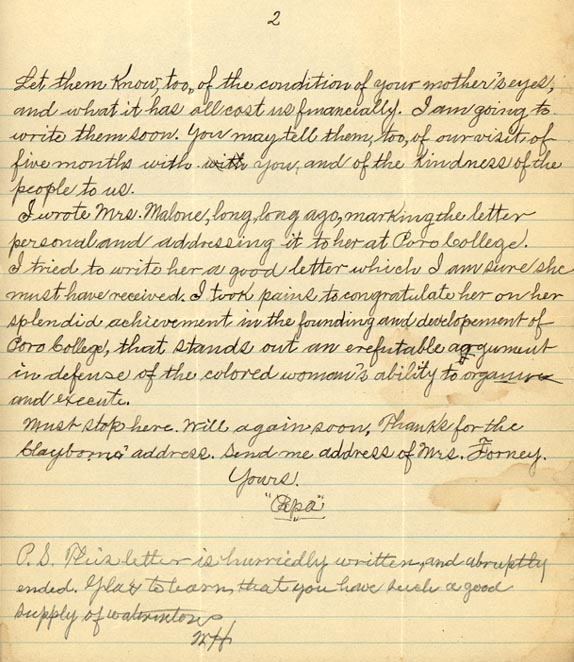 """Letter from William Crogman to Ada Crogman Franklin, """"How is Papa's Little Jam today?"""" July 25, 1926 (page 2 of 2)"""