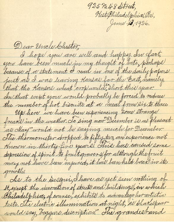"""Letter from William Crogman to Chester Franklin, """"Dear Uncle Chester, I hope you are well"""" June 13, 1926 (page 1 of 2)"""