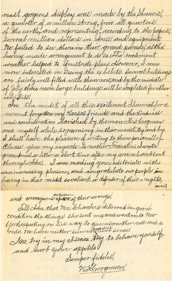 """Letter from William Crogman to Chester Franklin, """"Dear Uncle Chester, I hope you are well"""" June 13, 1926 (page 2 of 2)"""