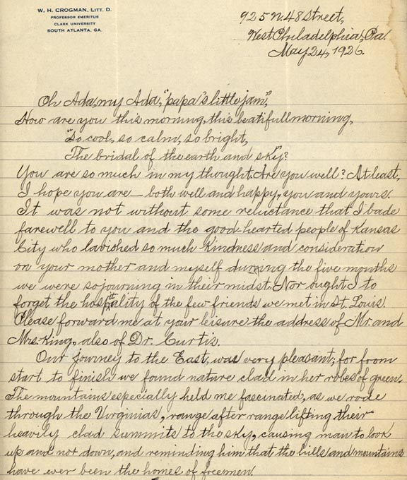 """Letter from William Crogman to Ada Crogman Franklin, """"Oh Ada, my Ada, papa's little jam"""" May 24, 1926 (page 1of 3)"""