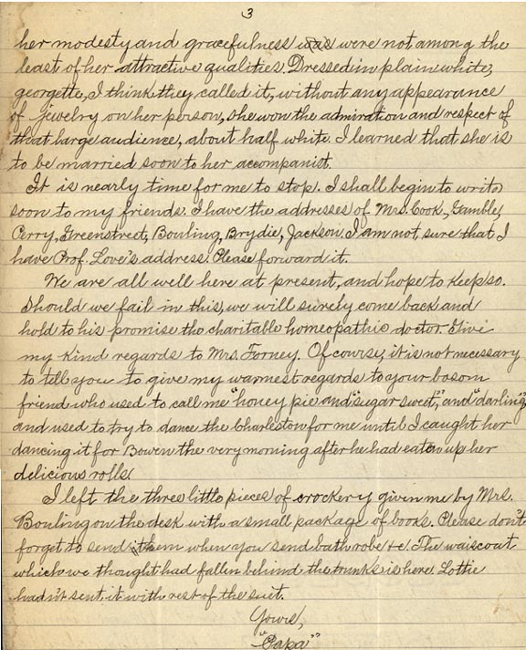 """Letter from William Crogman to Ada Crogman Franklin, """"Oh Ada, my Ada, papa's little jam"""" May 24, 1926 (page 3of 3)"""
