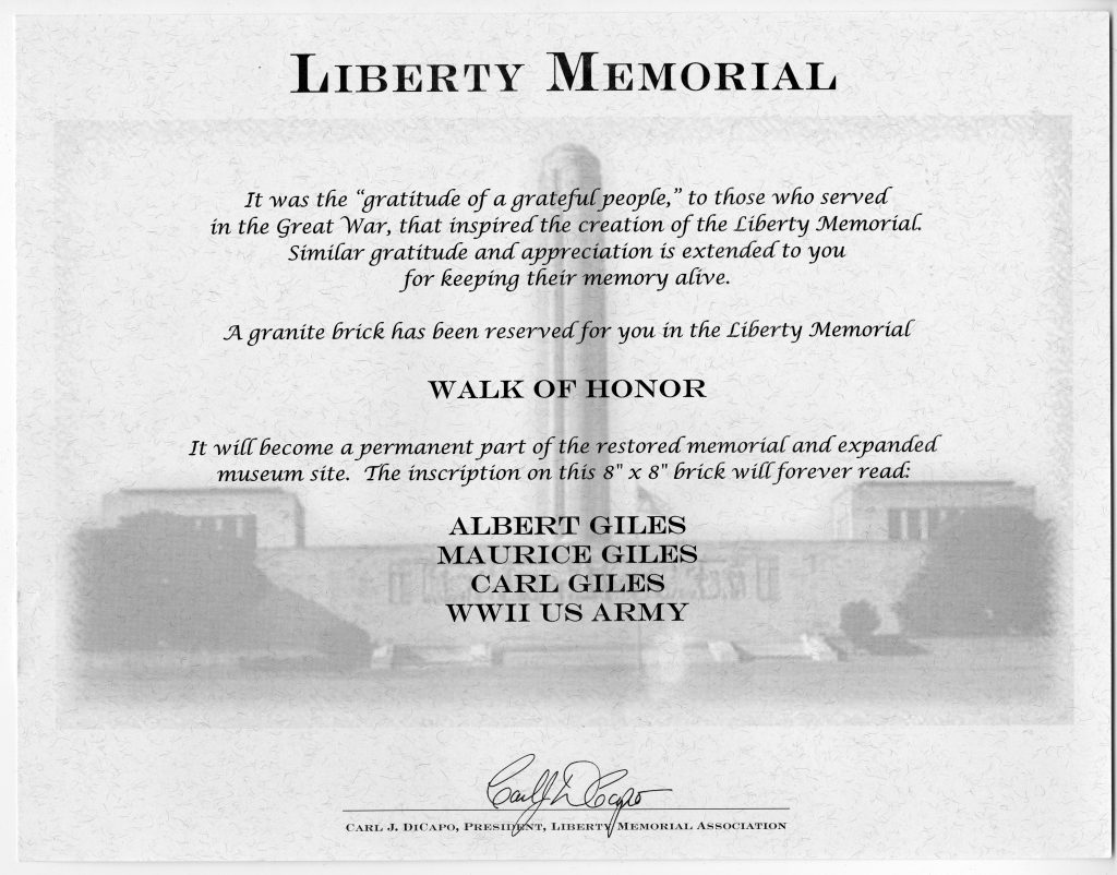 Certificate in Appreciation of Albert, Maurice, and Carl Giles