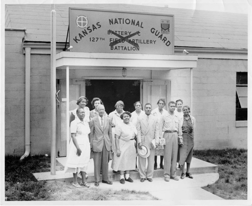 Unidentified group photograph taken in front of Kansas National Guard Building